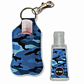 Blue Camo Clip-on Hand Sanitizer Carrier